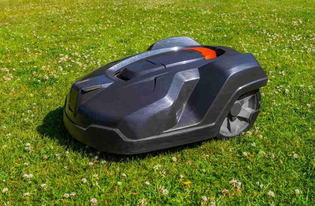 robot mower on large yard